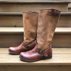 VTG Frye Suede & Leather Knee Boots Brown 8